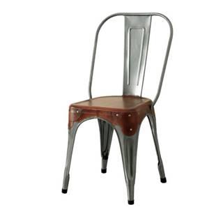 Stolička IRON železo almond/hnedý kožený poťah